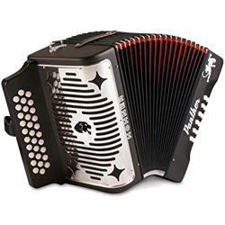 Hohner 3100BG-GCF-BK Diatonic Accordion Panther with Straps